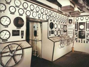 Engine console aboard SS Oriana