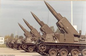 French Pluton missiles on their transport-erector-launcher platforms