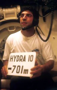 Theo Mavrostomos at a simulated depth of 701 m