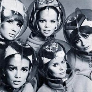 Bubble hats for Braniff Airline, Emilio Pucci