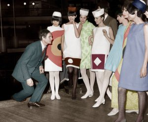Pierre Cardin with his models, late 1960s