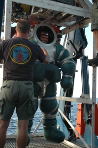 Chief Navy Diver Daniel P Jackson in the Hardsuit 2000